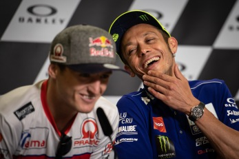 Valentino Rossi and Jack Miller during Thursday's press conference in Mugello Circuit