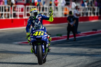 Valentino Rossi during Saturday Free Practices in Misano with his new helmet