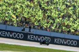 Valentino Rossi and his yellow crowd before MotoGP race in Misano