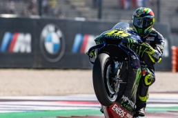 Valentino Rossi, Italian MotoGP Rider number 46 (with special celebrative helmet for Misano) for Yamaha Monster Team