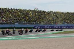 MotoGP race. Riders: Maverick Vinales 12, Franco Morbidelli 21, Fabio Quartararo 20, Valentino Rossi VR 46, Andrea Dovizioso 04