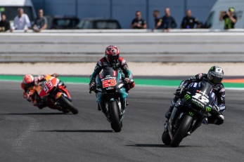 MotoGP Race. Riders: Maverick Vinales 12 leading, Fabio Quartararo 20, Marc Marquez 93.